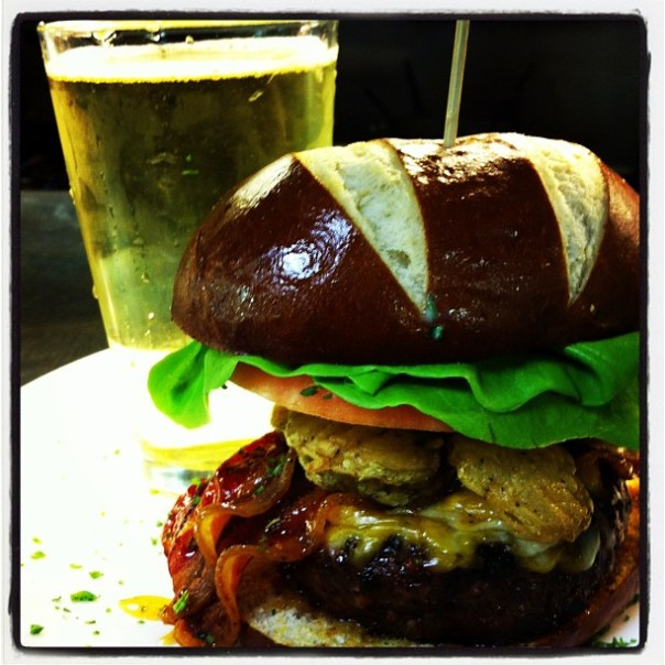 Fried Pickle & Beer Glazed Burger!